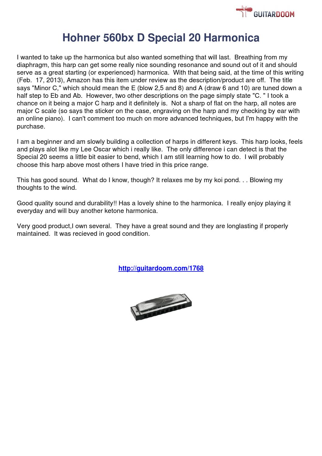 hohner special 20 harmonica review